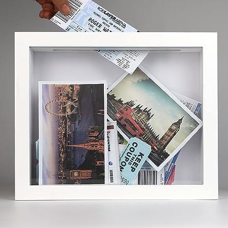 Ray & Chow Caja de Dinero Huchas de Madera SÓLIDA - Marco de Recuerdo para Guardar Billetes - Ranura Grande en la Parte Superior de la Estructura -Cristal Real Frontal-Blanco: Amazon.es: Hogar