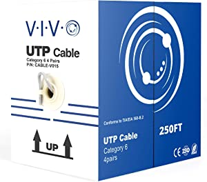 VIVO Gray 250ft Bulk Cat6, CCA Ethernet Cable, 23 AWG, UTP Pull Box, Cat-6 Wire, Indoor, Network Installations (CABLE-V015)