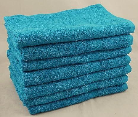 Paquete de 6 presupuesto/turquesa barata 100% algodón juego de toallas de baño