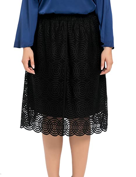 Chicwe Faldas Tallas Grandes Mujeres Forrado Elástico Encaje Falda a la Rodilla Negro 48