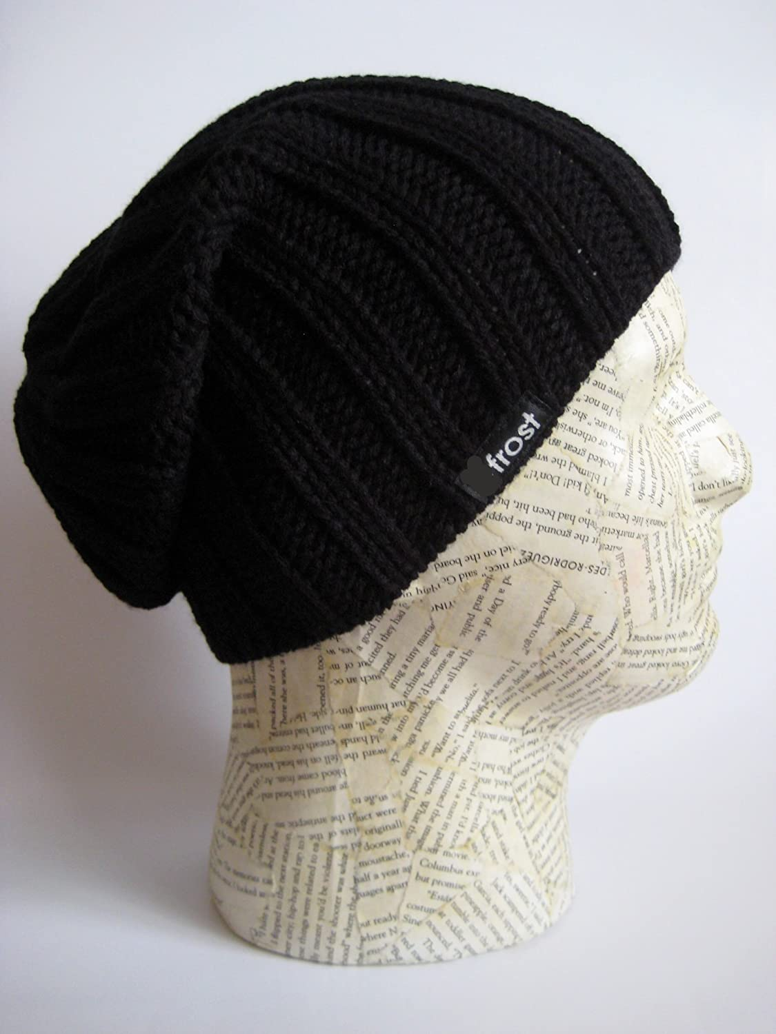 Frost Hats Fall Winter BLACK Mens Slouchy Hat Beanie Frost Hats at ...