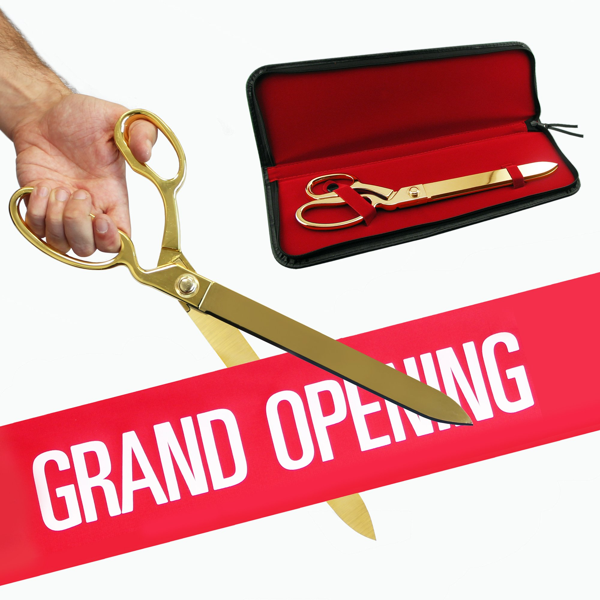 FREE Grand Opening Ribbon with 15'' Gold Plated Ceremonial Ribbon Cutting Scissors and Case by Engraving, Awards & Gifts
