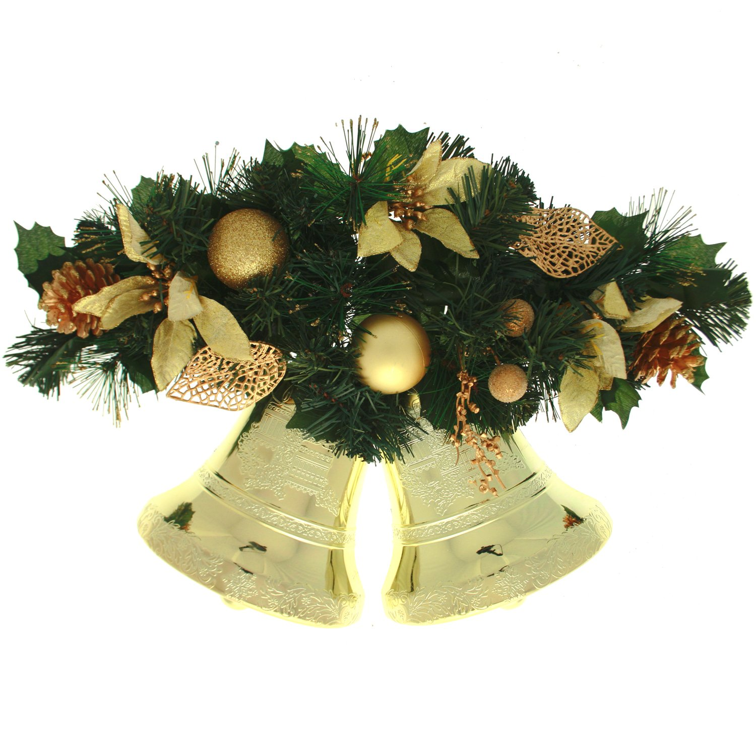 Cream & Gold Decorated Twin Bell Wall Christmas Decoration - Size ...