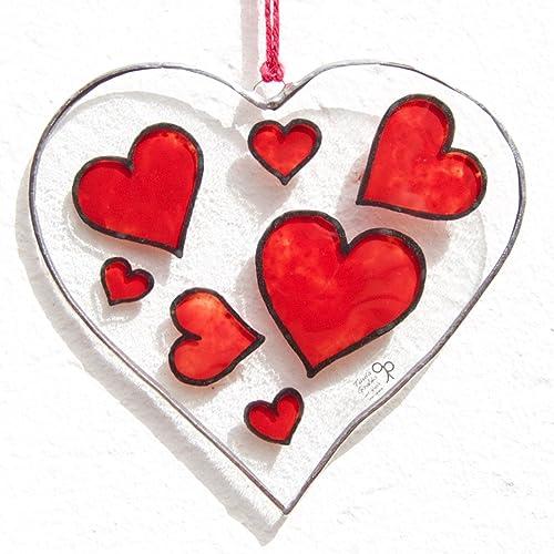 f33e8f455217 Heart - Tiffany Stained Glass - Red hearts - Love - Window panel -  Suncatcher - Wall hanging - Hanging panel - Home decor  Amazon.co.uk   Handmade