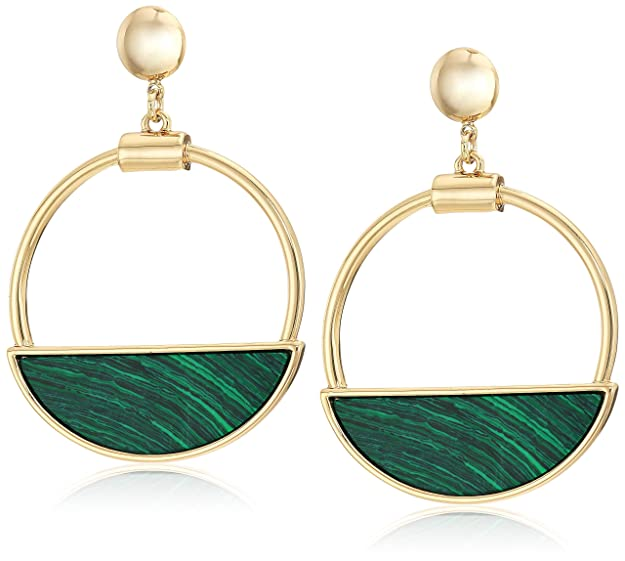 Ben-Amun Jewelry Women's Mod Gold-Tone Malachite Hoop Dangle Earrings, One Size