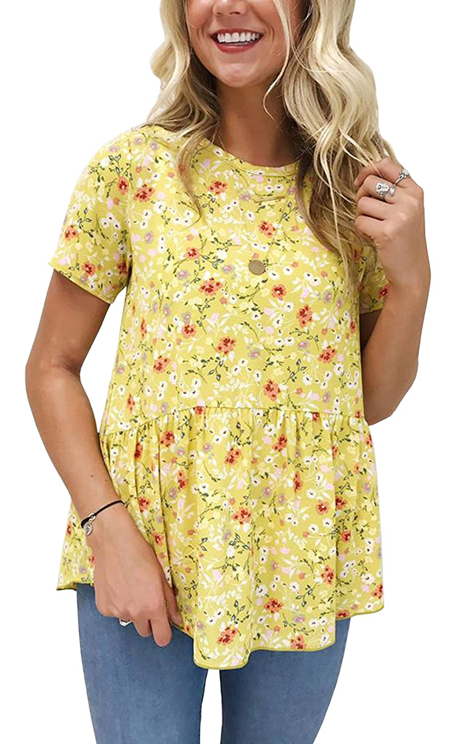 Yellow Hiblueco Women's Short Sleeve Round Neck Floral Print Swing Tunic Top Blouse