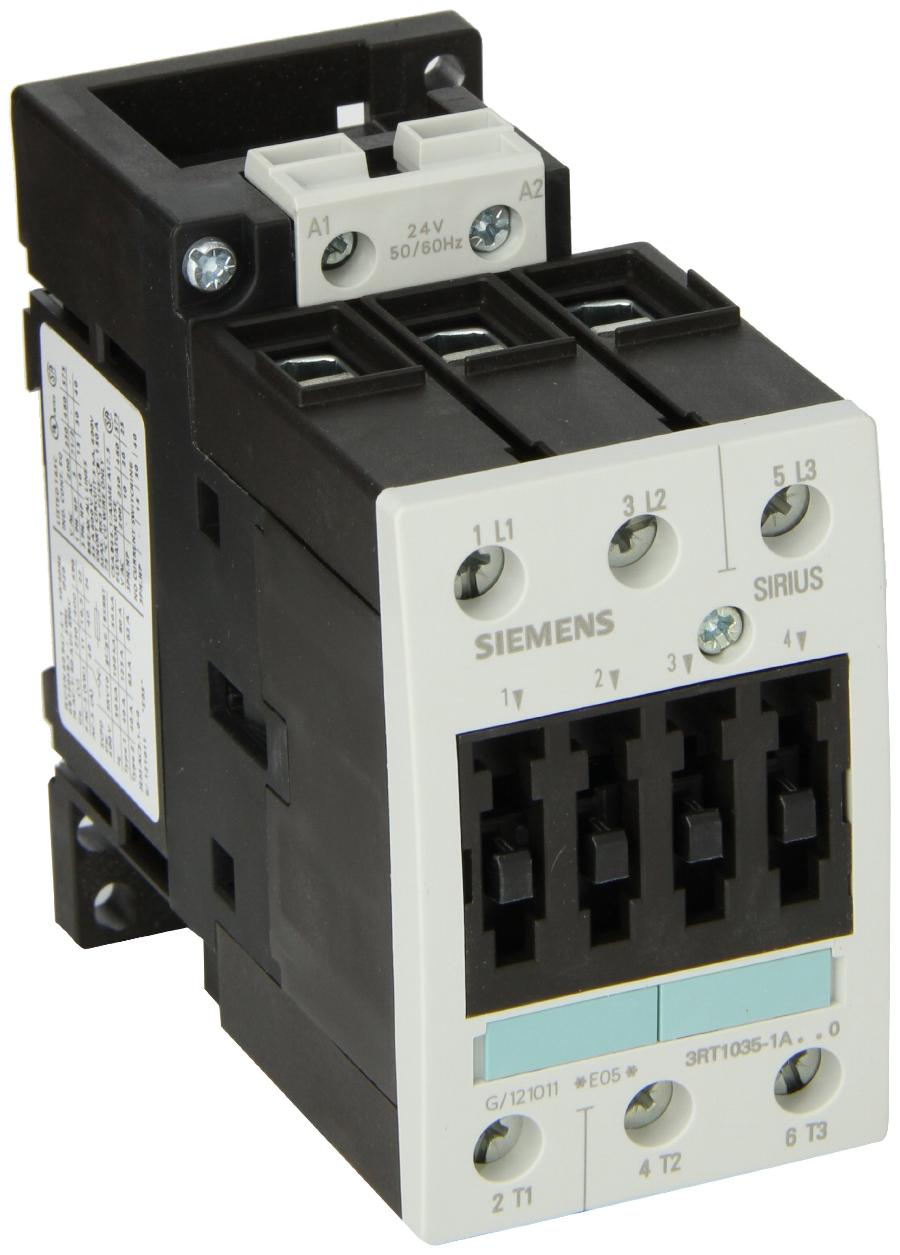 Siemens 3RT10 35-1AC20 Motor Contactor, 3 Poles, Screw Terminals, S2 Frame Size, 24V at 50 and 60Hz AC Coil Voltage Voltage