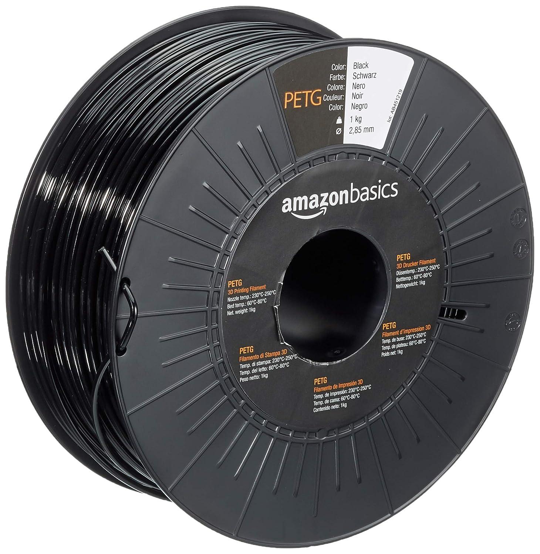 AmazonBasics PETG 3D Printer Filament, 2.85mm, Black, 1 kg Spool