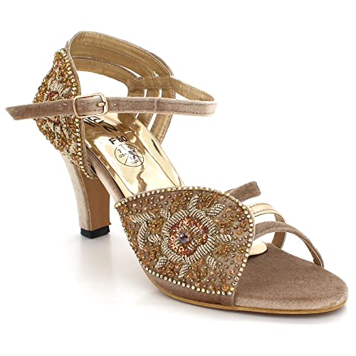 321dfdf803eb26 AARZ LONDON Womens Ladies Crystal Diamante Open Toe Evening Wedding Party  Bridal Prom Mid Heel Sandals Shoes Size  Amazon.co.uk  Shoes   Bags