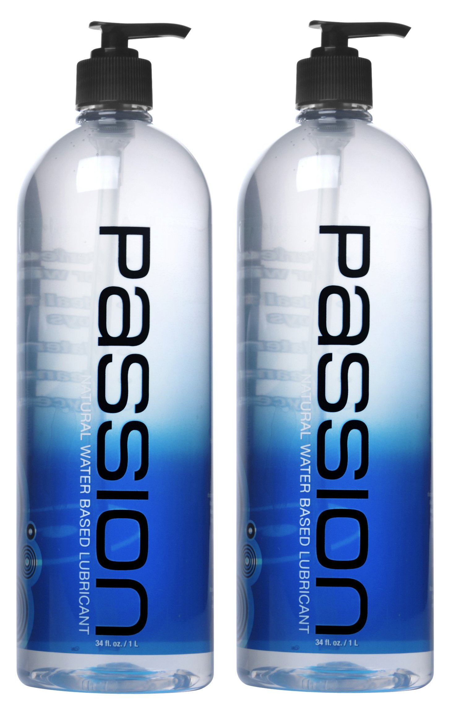 Twin Pack Natural Water-Based Lubricant, 34 oz Each, Total 68oz by Passion Lubes
