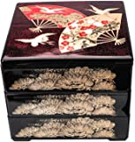 Japanese Lacquer Longevity Red Fans/Cranes Three Tiers Jubako Stack Lunch Bento Box