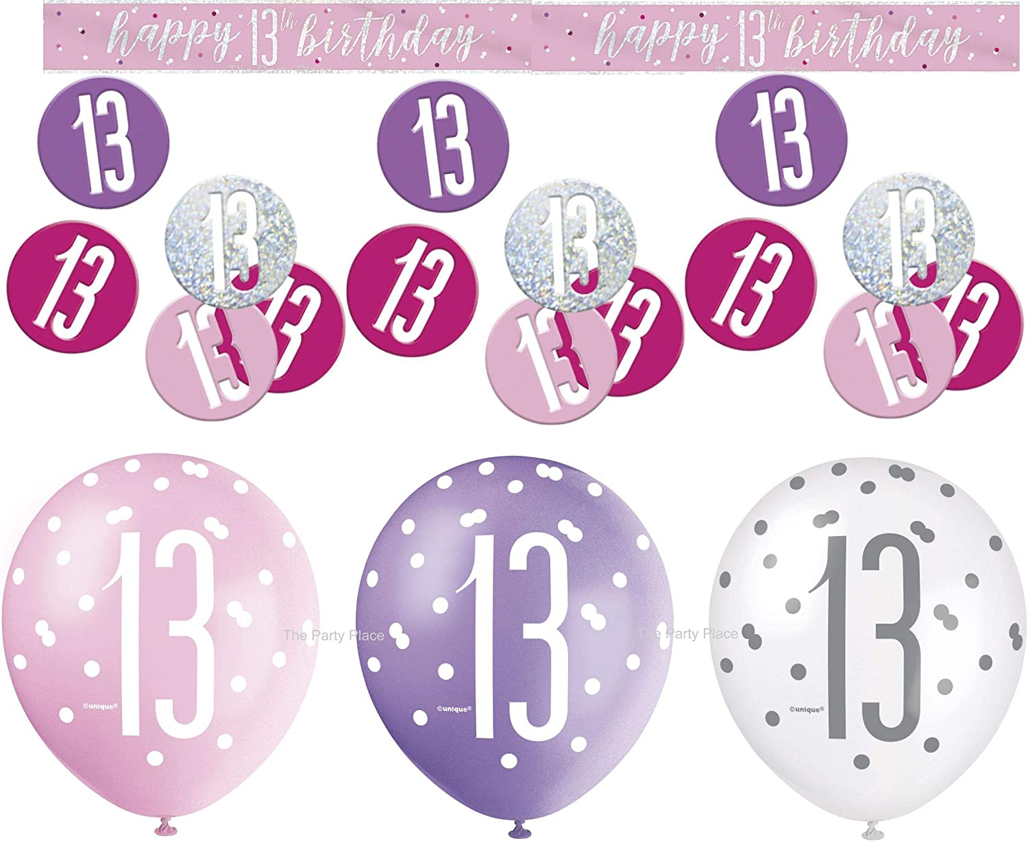 Fancy Dress Party Accessories 9 ft Pink 13th Happy Birthday Banner Holographic