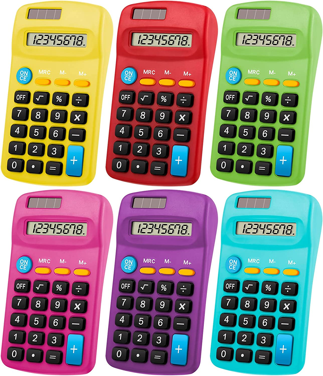 Pocket Size Calculator 8 Digit Display Solar Basic Calculator Dual Powered Mini Calculator for Desktop Home Office School Students Kids, 6 Colors (6 Pieces)