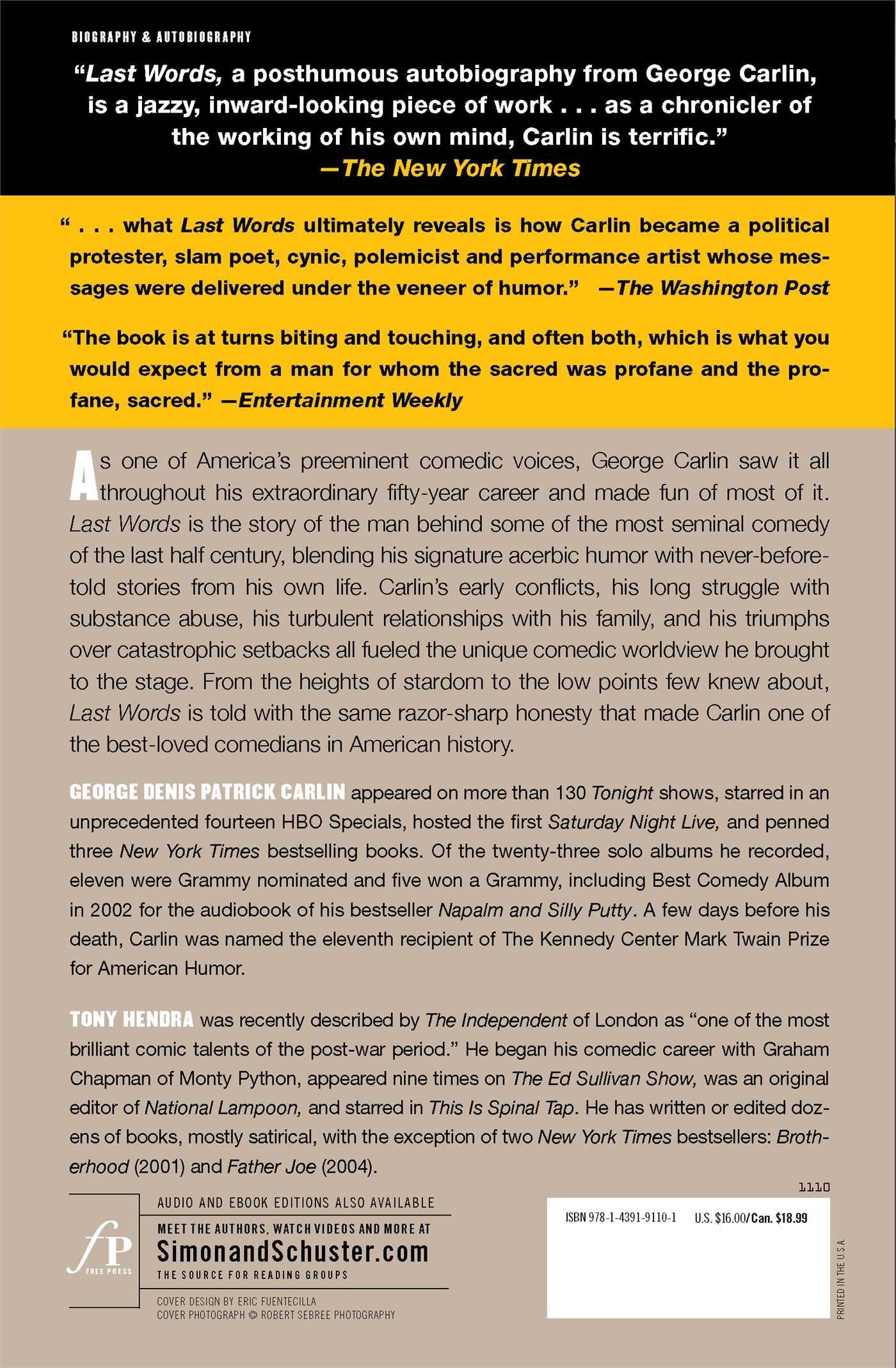 Last Words: George Carlin, Tony Hendra: 9781439191101: Amazon: Books