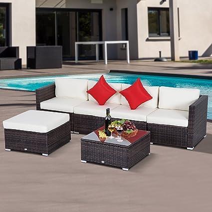 Amazon.com: Outsunny Patio ratán sofá seccional Muebles de ...