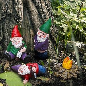 Funny Gnomes Garden Decorations Garden Gnomes Outdoor 4PCS Fairy Garden Miniatures Accessories Outdoor Garden Sculpture Statues Figurines Lawn Ornaments Garden Decor for Outside Yard Art Clearance