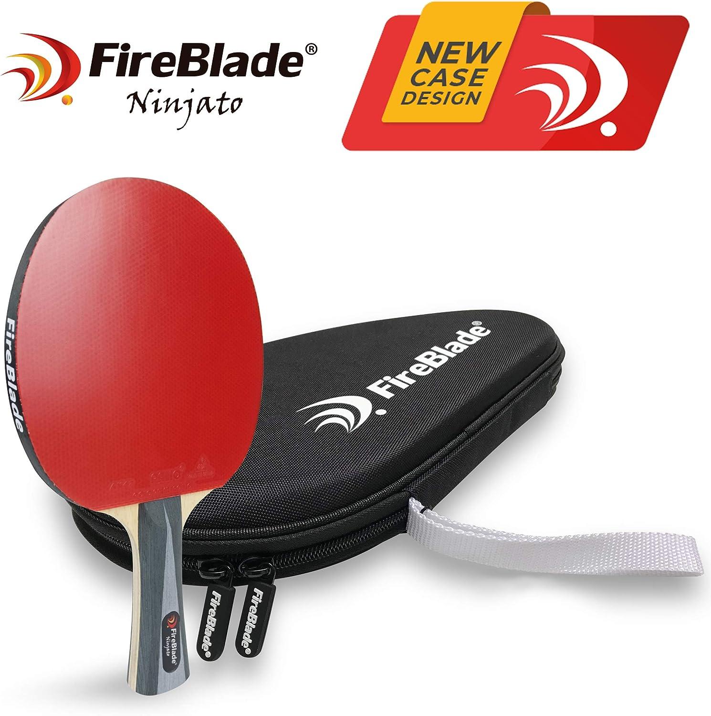 Fireblade Ninjato - Pala de tenis de mesa de carbono con funda - 5 capas madera y 2 capas de carbono - Raqueta de Ping Pong - Gomas ITTF - Cómodo mango - Incluye funda