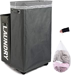 Caroeas Laundry Hamper, Rolling Laundry Basket Collapsible Tall Slim Laundry Hamper with Washable & Breathable Mesh Liner Waterproof & Dustproof Laundry Cart on Wheels (Grey)