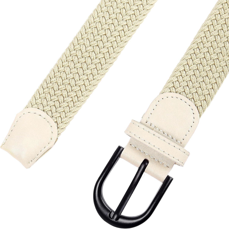 Junior 7 taglie 12 colori Cintura elastica intrecciata con fibbia ovale Fibbia nera con fibbia in pelle con uomo//donna