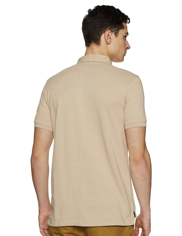 Beige Color Men's Solid Regular Fit Polo