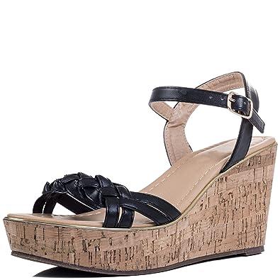 8e690ff794 Amazon.com | Adjustable Buckle Wedge Heel Sandals Shoes Black Leather Style  Sz 8 | Sandals