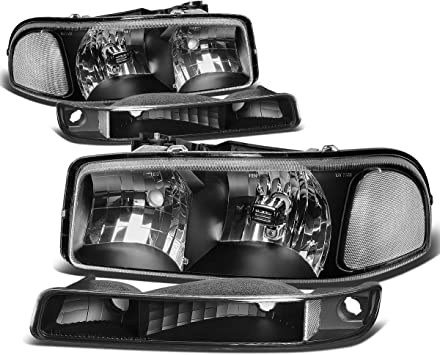 Pair Black Housing Clear Corner Headlights Assembly HeadLamps Replacement for GMC Sierra Yukon C3 GMT800 99-07