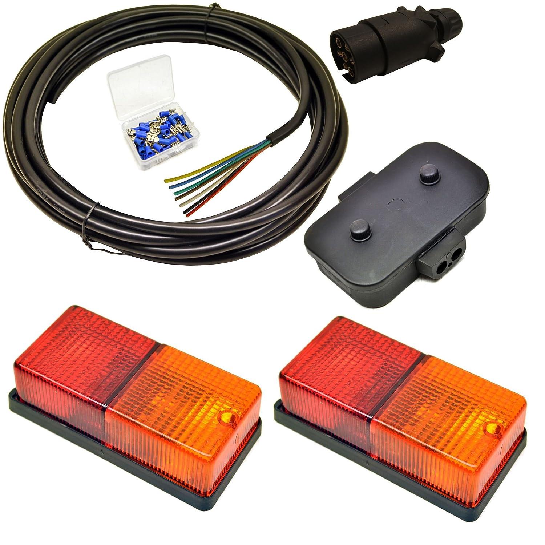 Trailer Light Wiring Kit - Medium Lights, Plug, Junction Box, 5m Wire, Terminals AB Tools