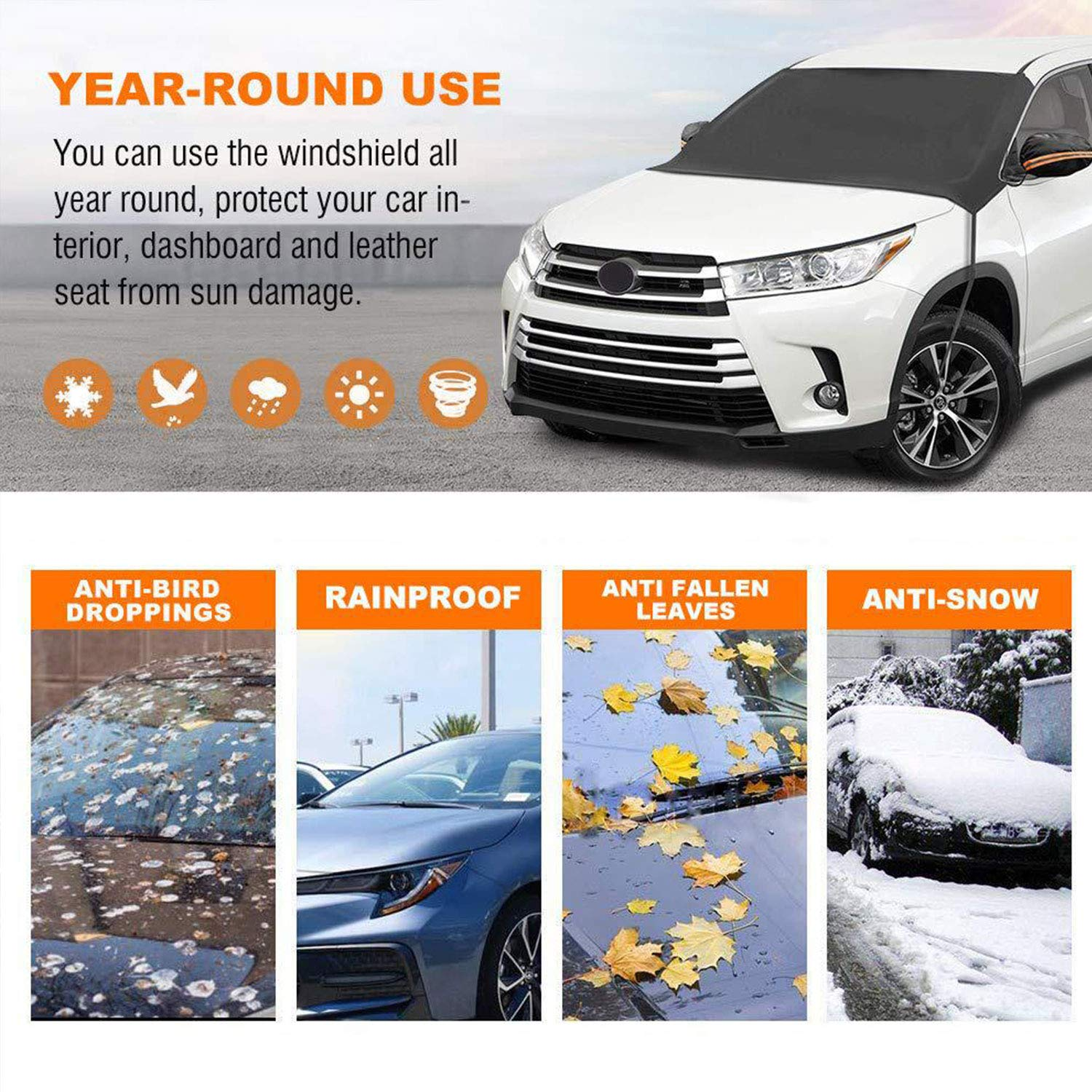 in Snow Cover KBD Car Windshield Snow ice Cover Double Side Design,Snow 96x57 Ice Frost,UV Full Protection,Extra Large /& Thick Fit for Most Vehicle Windshield Snow Cover Waterproof