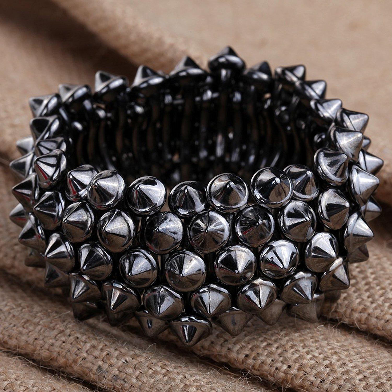 DVANIS Jewelry Simple Punk Cool Retro Multilayer Black Rivet Alloy Wrist Bangle Bracelet Gift