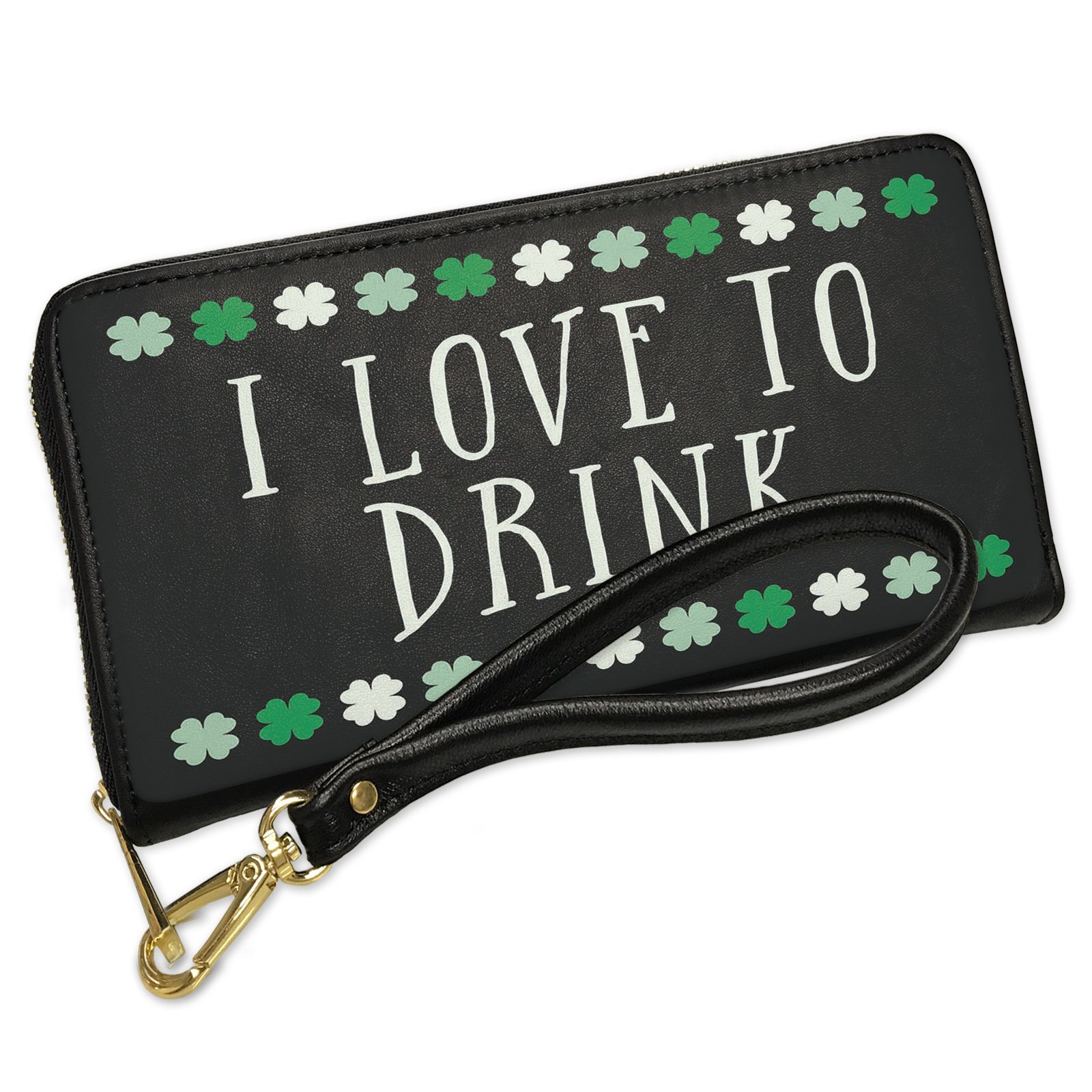 Wallet Clutch I Love To Drink St. Patrick's Day Cute Shamrocks with Removable Wristlet Strap Neonblond
