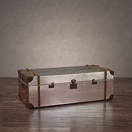 Amazoncom Zallzo Commander Aluminum Storage Trunk Coffee Table