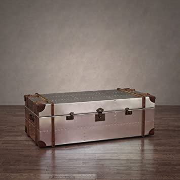 Zallzo Commander Aluminum Storage Trunk Coffee Table