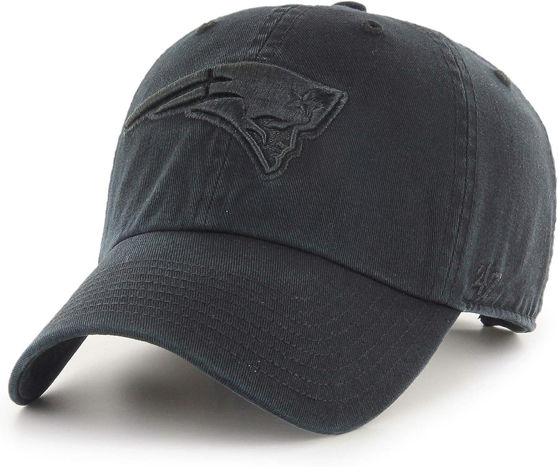 47 New England Patriots Hat NFL Authentic Brand Clean Up Adjustable Strapback Black Football Cap Adult One Size Men /& Women 100/% Cotton