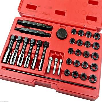 Kit de reparación de rosca de bujía de incandescencia Set 33pc Cilindro cabezas M8 M10 M12 M14: Amazon.es: Coche y moto