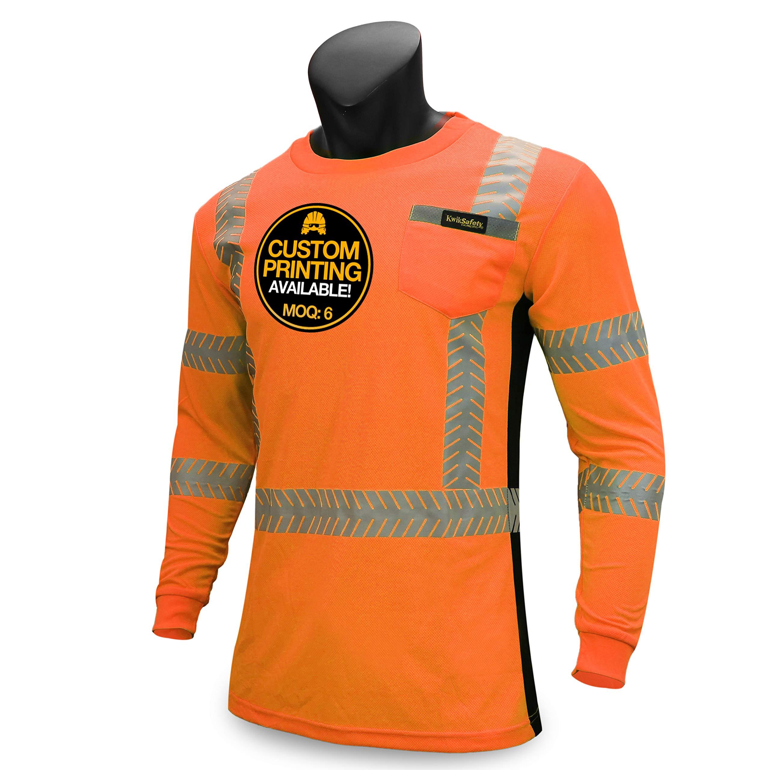 KwikSafety (Charlotte, NC) RENAISSANCE MAN | Class 3 Long Sleeve Safety Shirt | ANSI Work Wear | Hi Vis Moisture Wicking Silver Fishbone | Men Women Construction Exercise Security | Orange Large