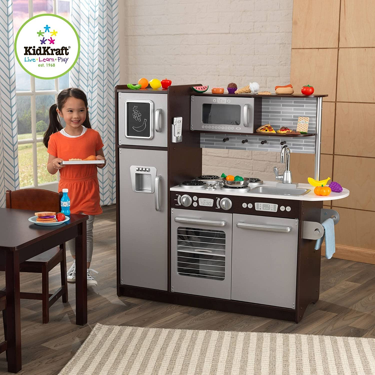 Amazon.com: KidKraft Uptown Espresso Kitchen With 30 Piece Play Food Set:  Toys U0026 Games