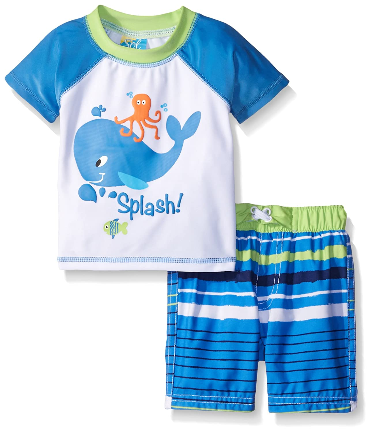 SOL Swim Boys' Whale at Sea Rashguard Set Solo International Inc Baby BS5-284