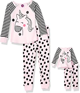 4-Piece Dollie /& Me Girls Snug Fit Pajamas with Matching Doll Outfit