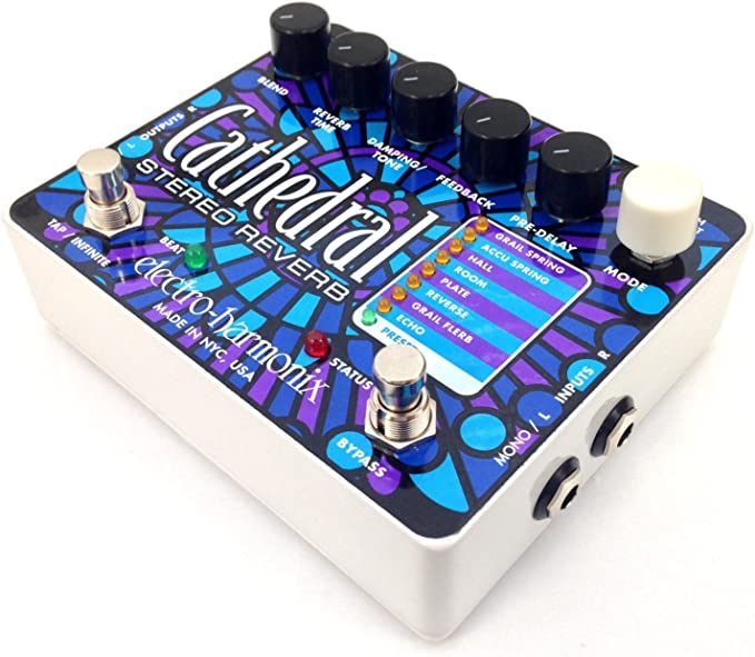 Echo Guitar Effects Pedal Electro-Harmonix Cathedral Stereo Reverb