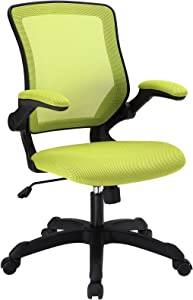 Modway Veer Office Chair with Mesh Back and Vinyl Seat With Flip-Up Arms in Green