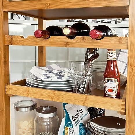 SoBuy Carrito de cocina con repisa de cristal, Carrito para cocina, Estantería de cocina, FKW16-G-N,ES: Amazon.es: Hogar