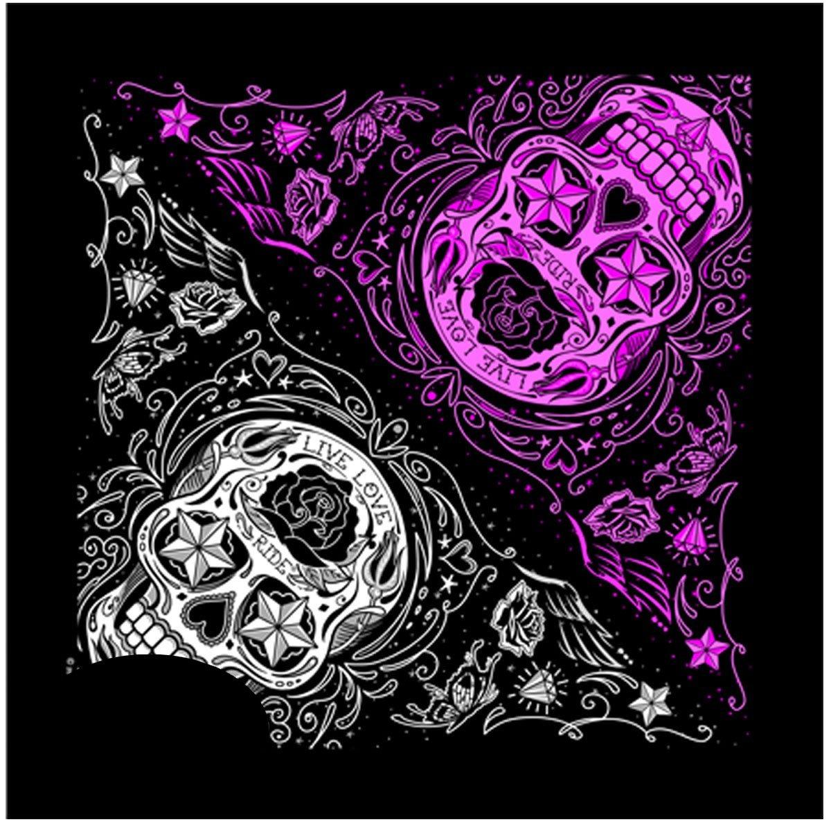 Bandana tissu foulard biker Skull lady rider tê te de mort mexicaine AMT CUSTOM