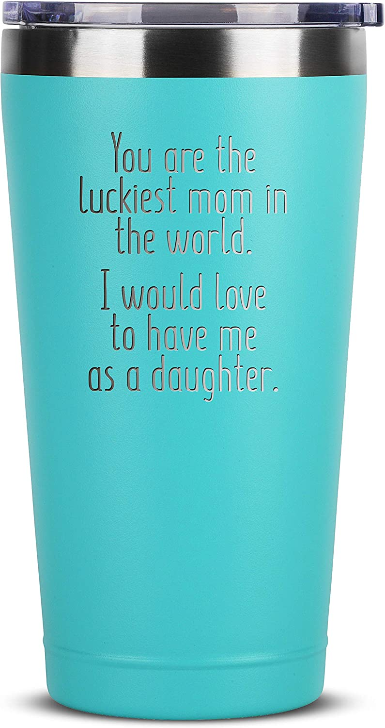 Amazon Com Luckiest Mom Daughter 16 Oz Mint Insulated Stainless Steel Tumbler W Lid Mug Cup For Women Birthday Mothers Day Christmas Gift Ideas From Daughter Mother Moms Gifts Mugs