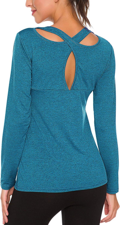 ZHENWEI Womens Short Sleeve Yoga Tops Activewear Running Workouts T-Shirt Cross Back Sports Shirts Women Yoga Shirt