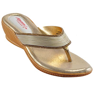 c57a955ba Ajanta Women s Gold Synthetic Leather Sandal  Buy Online at Low ...