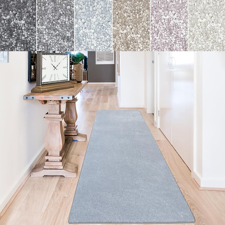 casa pura Teppich Läufer Sundae | Meterware | Teppichläufer für Wohnzimmer, Flur, Küche usw. | kuschlig weich | mit Stufenmatten kombinierbar (Hellblau - 66x300 cm)