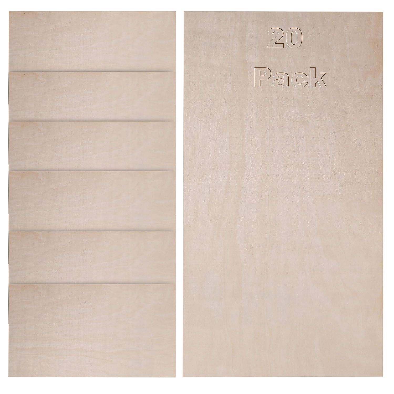Lasergravieren Birkensperrholz individuellen Einrichten Malen - 60 x 30 cm 20 Packung Baltische Holzschicht zum Schablonieren Basteln und Bemalen Holzmalen 3 mm Dicke