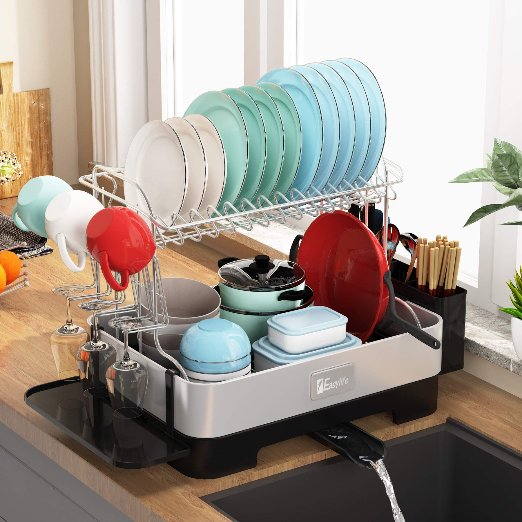 Adovel Dish Drying Rack And Drainboard Set 2 Tier Dish Drainer With Swivel Spout For Kitchen Counter 304 Stainless Steel Buy Online In Aruba At Aruba Desertcart Com Productid 213262739