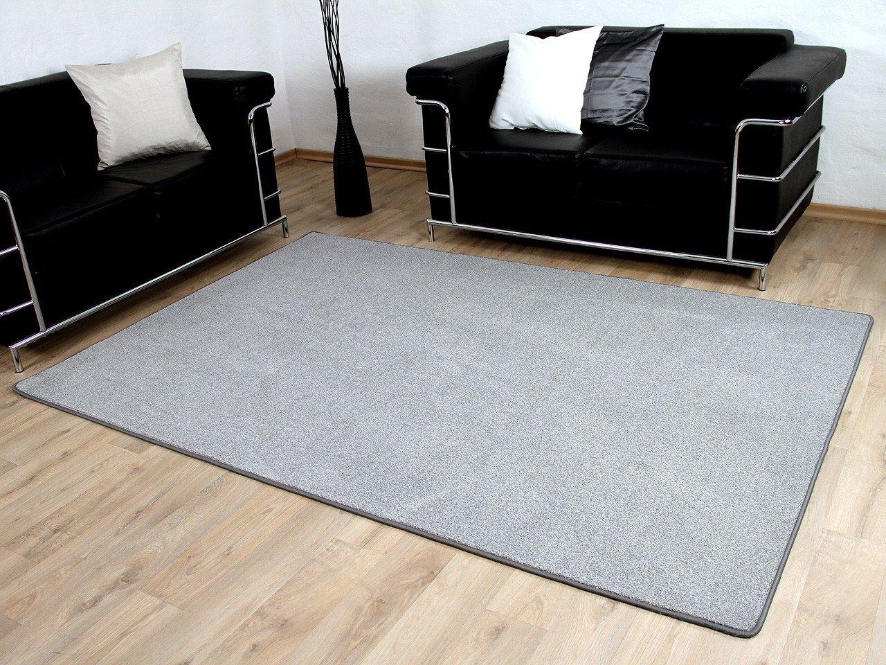 Hochflor Velours Teppich Belini Melange Silber Grau in 24 Größen