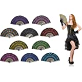 """OMyTea """"Peacock"""" Folding Hand Held Fans Bulk for Women - Spanish / Chinese / Japanese Vintage Retro Fabric Fans for Wedding, Church, Party, Gifts (Mixed Colors, 10pcs)"""